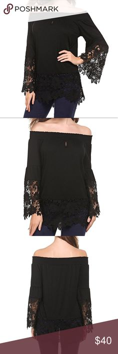 Off Shoulder Flare Sleeve Lace Blouse Polyester and Lace . Please ask for your size. Tops Blouses