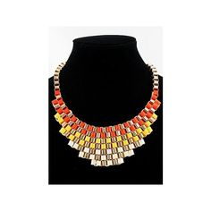 Fluorescent Orange Bib Knitted Collar Necklace ($11) ❤ liked on Polyvore