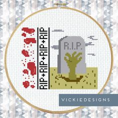 Zombie Grave RIP Modern Cross Stitch Pattern by VickieDesigns