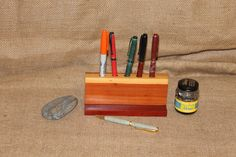 Handmade Cedar and Padauk Pencil Holder, Pen Holder, Desk Organizer, C116 by woodhut on Etsy