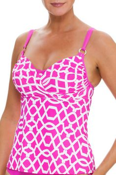 Fashionable cup-sized underwire tankini top that offers optimum support for large bra cup sizes. Modern design comes with cross front overlay and flyaway back that is flattering to all body shapes. Over the shoulder adjustable double straps provide additional comfort for a perfect day at the beach. See Pink And White Underwire Tankini $110 at http://store.taragrinna-swimwear.com/bestselling/