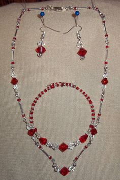 Red white and Silver jewelry set by cyndioriginals on Etsy, $15.00