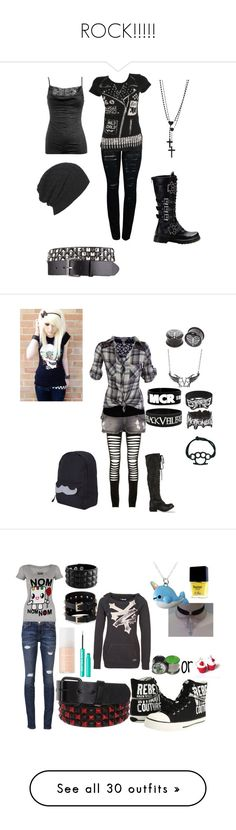 """ROCK!!!!!"" by blade-trista18 ❤ liked on Polyvore featuring Abbey Dawn, Wet Seal, Wildfox, AllSaints, Maurie & Eve, Schiesser, Hot Topic, Jeffrey Campbell, art and NYX"
