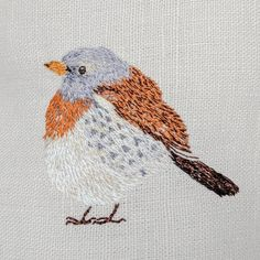 Felix the Fieldfare Embroidery Ideas, Hand Embroidery, Iris, Rooster, Sewing, Projects, Beautiful, Log Projects, Dressmaking