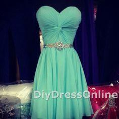 New arrival sweetheart neck beaded waistband homecoming dresses mint chiffon graduation dresses short prom dresses apd1441