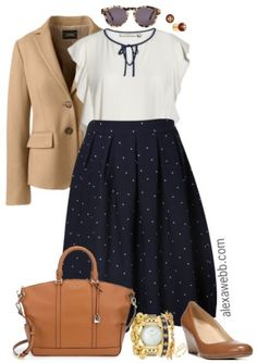 Plus Size Navy Dot Skirt Outfits - Plus Size Fall Work Outfit Ideas - Plus Size Fashion for Women - alexawebb. Outfits Plus Size, Plus Size Fall Outfit, Fall Outfits For Work, Plus Size Skirts, Dresses For Work, Fall Dresses, Cute Plus Size Clothes, Curvy Fashion, Look Fashion