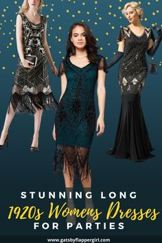 Click here to see all our stunning ladies 1920s Long Dress Gowns perfect for parties and formal events! Dress with Style - Roaring 20s style! 20s Style, Flapper Style, Roaring 20s Fashion, 1920 Women, Great Gatsby Dresses, 1920s Dress, Evening Gowns, Party Dress, Parties