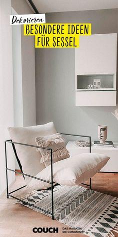 Macht es euch mit diesen schönen Sesseln im Wohnzimmer gemütlich. sonjasch86 hat ihren minimalistischen Sessel mit einem modernen Teppich und einem Kissen im Boho-Look aufgepeppt. Couch, Boho, Home Decor, Modern Rugs, Minimalist, Armchair, Decorating Ideas, Living Room, Nice Asses