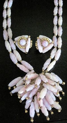 Hobe+Pink+Fringed+Necklace+Earring+Set++by+VintageLaneJewelry