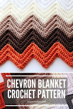 Free Chevron Crochet Blanket Pattern by Easy Crochet - Easy to make crochet chevron pattern! Chevron Crochet Blanket Pattern, Crochet Ripple Afghan, Chevron Blanket, Afghan Crochet Patterns, Baby Blanket Crochet, Crochet Blankets, Baby Afghans, Crochet Motif, Knit Patterns