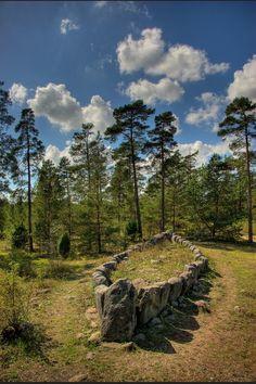 Tjelvar's Grave ancient stone ship on Gotland Island, Sweden
