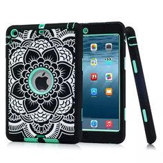 For iPad Mini 3 2 1 Rugged Floral Print Case Cover Shockproof Heavy Duty Rubber Skin Cover for Apple iPad Mini 2 3 Conque Capa