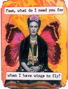 Theme for this swap was Frida Khalo. The text is a Frida quote.
