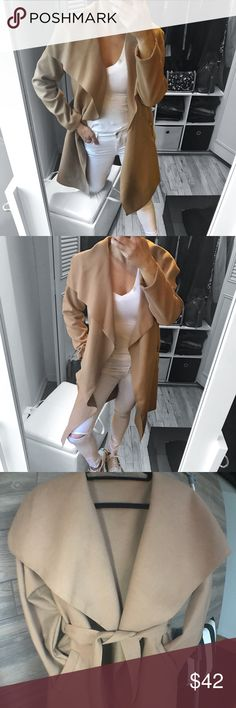 """LAST 2▪️Camel Tan Waterfall Trench Coat So chic & elegant. Great addition to your closet.  🌟4th & LAST RESTOCK   ▪️SIZE : One Size  ▪️COLOR: Tan / Camel ▪️MATERIAL : 80 % Poly, 20 % Viscose  ▪️MEASUREMENTS: One size :  20"""" pit to pit , 36"""" lenght , 23"""" sleeve lenght ▪️FEATURES : Waterfall collar, open front, double pocket sides, lightweight, soft finish , wool look fabric  ▫️Use  the """"Buy now """" or """"Add to Bundle"""" feature to purchase  ▫️Modeling One Size : I'm  5' 5"""" and 129 lbs   ( bust 34…"""