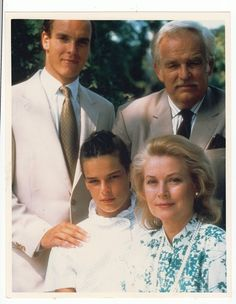 Princess Grace's last portrait with her husband, Prince Rainier, and her children, Prince Albert and Princess Stephanie, in 1982.: