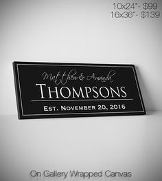 Last Name Sign Family Established Home Signs by WeddingTreePrints