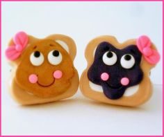 BFF Best Friends Peanut Butter and Jelly ( PB ) Clay Ring Set. $10.00, via Etsy. so cute