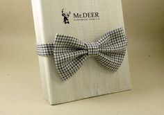 Kids Black Blue White Houndstooth Bow Tie  Ready by MrDEERbowtie
