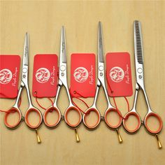 4'' 5.0'' 5.5'' Purple Dragon 440C Professional Human Hair Scissors Hairdressing Scissors Cutting Shears Thinning Scissors Z1017 #Affiliate