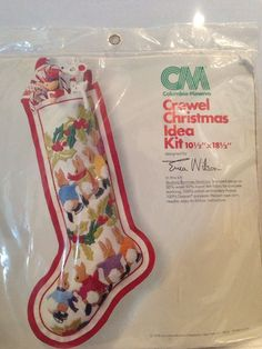 Columbia Minerva Crewel Stocking Skating Bunnies Kit Erica Wilson Christmas 1978 #ColumbiaMinerva