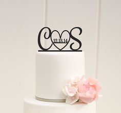 Initials and Heart Wedding Cake Topper with by ThePinkOwlDesigns