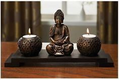 Candle tea light Holder set Buddha Buddah Statue Ornament Bronze colour