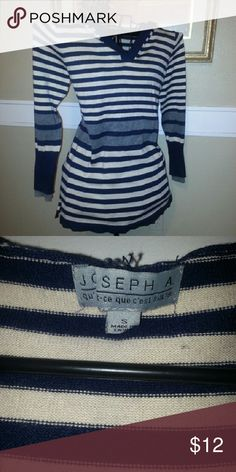 Hooded sweater Joseph A long sleeve hooded striped sweater beige and blue with gray Joseph Allen Sweaters V-Necks