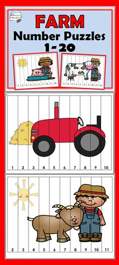 Farm Theme Number Puzzles 1-20                                                                                                                                                                                 Más Farm Lessons, Preschool Lessons, Preschool Math, In Kindergarten, Preschool Farm Theme, Preschool Ideas, Farm Animal Crafts, Farm Animals, Farm Crafts