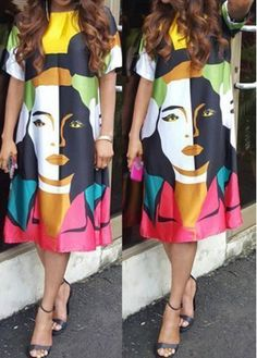 Character Print Multi Color Knee Length Dress on sale only US$23.18 now, buy cheap Character Print Multi Color Knee Length Dress at modlily.com