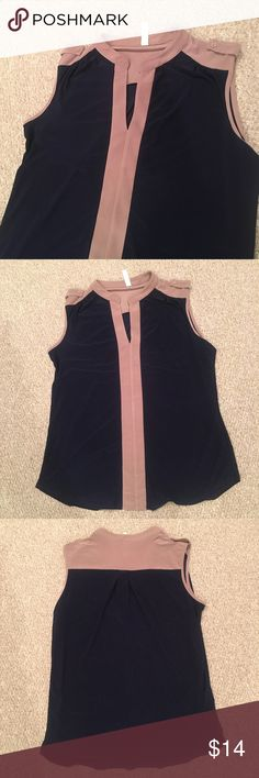 NWT Per Seption Concept Blouse Size XL NWT. Sleeveless Blouse. It's navy and tan although the tan is showing more like mauve here. Button detail on shoulder. Tops Blouses