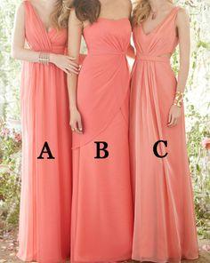 2016 bridesmaid dress, long bridesmaid dress, coral bridesmaid dress, v-neck bridesmaid dress, strapless bridesmaid dress, one shoulder bridesmaid dress, chiffon bridesmaid dress, discount bridesmaid dress, cheap bridesmaid dress, #2016 #long #coral #cheap