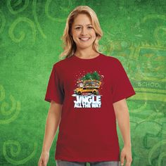 """Celebrate a safe and happy winter season with your students in """"Jingle All The Way"""" school bus sweatshirts and t-shirts from WorkPlacePro!   Get yours today at www.workplacepro.com"""