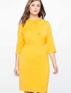 Eloquii Structured Work Dress With Bow Detail - Goldenrod 14