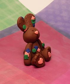 Handmade Polymer Clay Dark Brown with Patches Bunny Figure. $22.00, via Etsy.