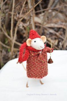 Little Winter Christmas Mouse- Christmas-Winter Seasonal Ornament- Felting…