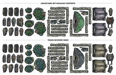 Over a set of over 40 unique Graveyard tokens sized for a square battlemap. The perfect tile set for a Cemetery on your next Tabletop RPG gaming night! Dungeon Tiles, Dungeon Maps, Pathfinder Maps, Drawn Art, Dungeons And Dragons Homebrew, Thing 1, Fantasy Map, Tabletop Rpg, Book Images