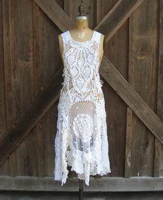Interesting.... dress pinafore jumper vintage crochet lace doilies ooak. $275.00, via Etsy.