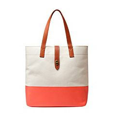 """Tote Bags. A cotton canvas handbag featuring a neon accent. Featured in hot coral Double handles Turnlock closure Interior slide pockets 15"""" x 14"""" x 6"""" Imported"""