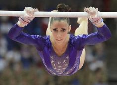 The 18-year old captain of the USA's gold medal winning women's gymnastic team Aly Raisman on the uneven parallel bars.