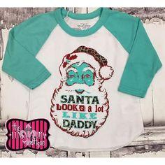 50% off Crazy Train Santa Looks A Lot Like Daddy Baseball Sleeve Tee Size 2 & 4 left