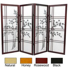 @Overstock - Divide your Japanese-inspired space with this wood and rice paper Asian Shoji screen that features a graphic black bamboo tree pattern for extra style. The frame comes in a variety of finishes to match your favorite accent color in the room.http://www.overstock.com/Worldstock-Fair-Trade/Wood-and-Rice-Paper-Bamboo-Tree-Shoji-Screen-China/3063255/product.html?CID=214117 $153.00