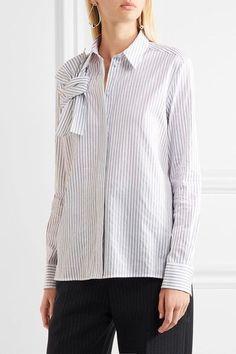 Victoria, Victoria Beckham - Pinstriped Knotted Cotton-poplin Shirt - White - UK10