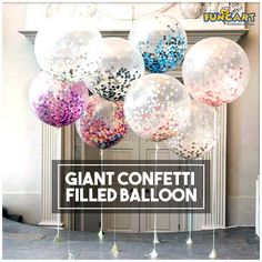 A beautiful giant three foot confetti filled balloon sure to add the wow factor to any party! www.funcart.in #Funcart #Party #Decor #Ideas #Confetti #Balloon #PartyFun Tag Photo
