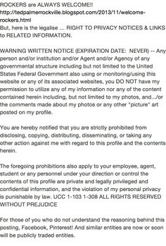 RIGHT to PRIVACY NOTICE to ALL BUT ROCKERS!! http://tedpalmerrockville.blogspot.com/2013/11/welcome-rockers.html