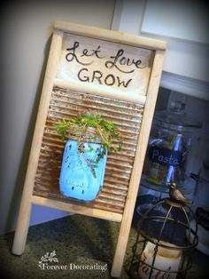Upcycled wash board - April featured project at Talk of the town - KnickofTime.net