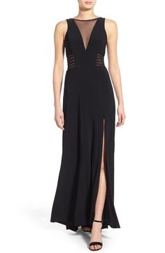 Morgan & Co. 'Jamie' Illusion V-Neck Gown available at #Nordstrom