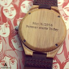 """""""Forever starts today"""" personalized gift for him, wood watch from #Treehut Co."""