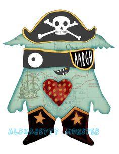 Pirate Monster Print. $15.00, via Etsy.