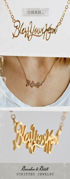 As we say in the South, this cursive script Bless Your Heart Necklace celebrates the spirit and pride of life in the south and allow you to wear your sassiness right out in plain view.  Available in white or yellow gold.