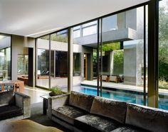 Marmol Radziner, Vienna Way residence | living room pool interiors